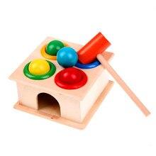 1 ensemble en bois frapper balle boîte jouets éducatifs enfants couleur enseignement aides à jouer Hamster jeu enfants marteau Case