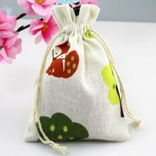 10*14 cm 50 stks Vos Patroon Katoenen Tassen Candy Gift bag Drawable Sieraden Bag Wedding Gunsten Charms armband Verpakking Zakken
