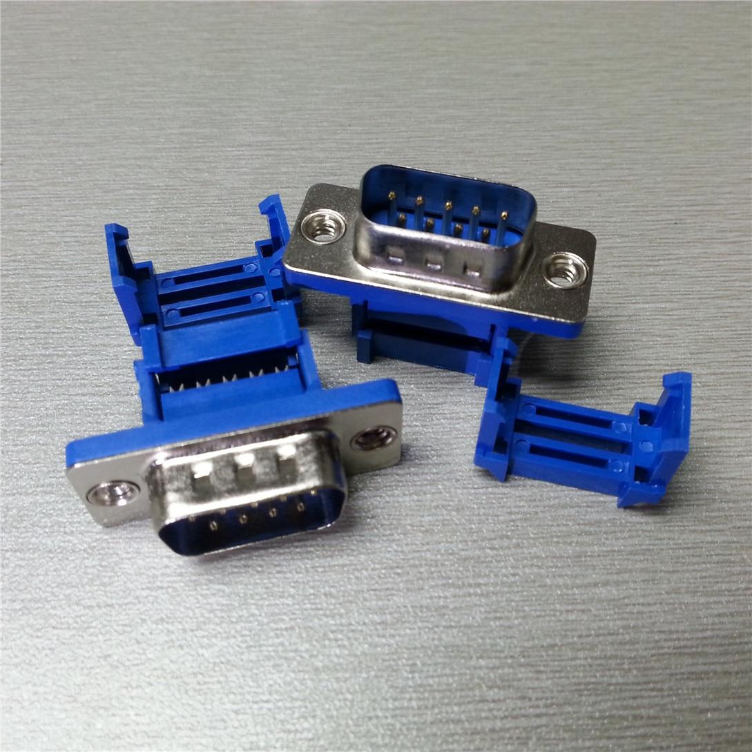 5 pcs DIDC9 DB9 MACHO porta serial CONECTOR IDC crimp RS232 COM CONECTORES do Tipo D-Sub 9pin plugue 9 p fio Adaptador PARA cabo de fita