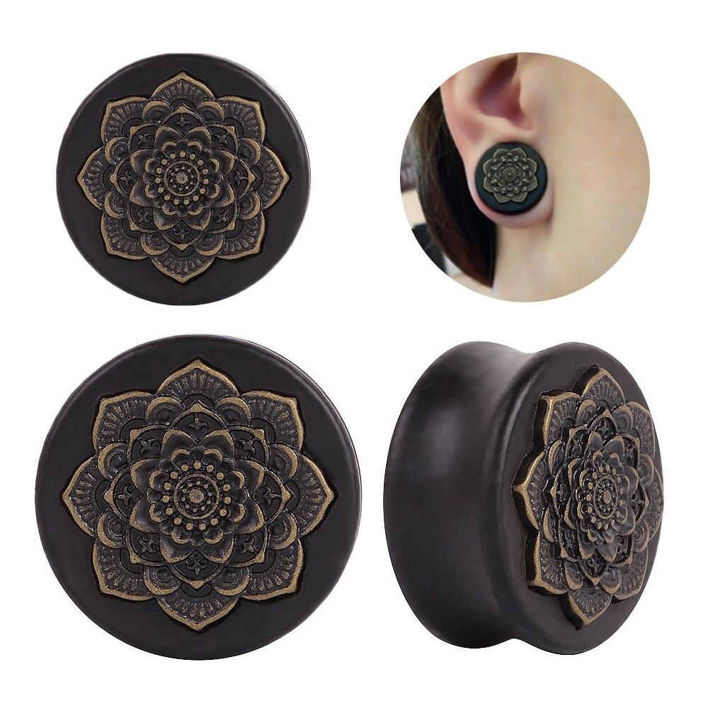 Nuevo estilo 2 uds. De madera negra Natural Mandala flor tapones para los oídos expansores oído túneles pendientes calibres Piercing oreja joyería para el cuerpo