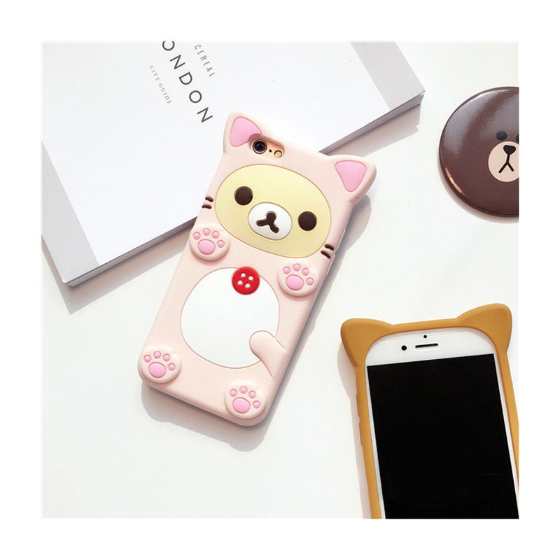 Funda 3D de silicona blanda con dibujo de oso bonito para iPhone X 6 6s Plus 7 7Plus 8 8Plus Fundas Coque