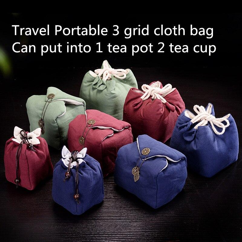 Bolsa de viaje portátil de 3 rejilla para guardar joyas, bolsa gruesa para té, bolsa pequeña para té, bolsa de tela para 2 tazas