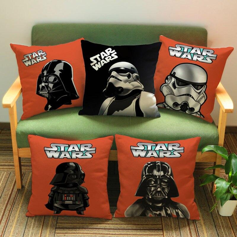 Laranja fundo star wars darth vader imperial stormtrooper personagem lance travesseiro caso sofá decoração para casa capa de almofada