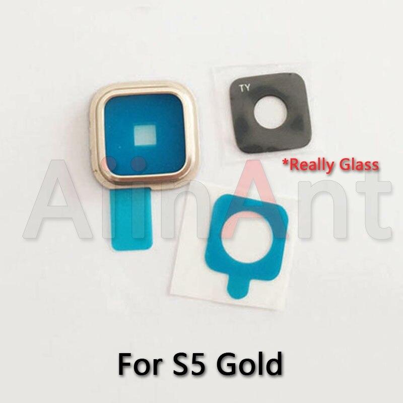 AiinAnt Original cámara trasera Lente de Cristal anillo cubierta para Samsung Galaxy S3 i9300 S4 i9500 S5 con piezas de repuesto adhesivas