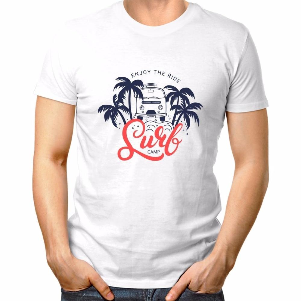 Camisetas de moda 2019 camiseta de vestir miami Florida Beach Enjoy The Ride Surfer Camp camisetas blancas