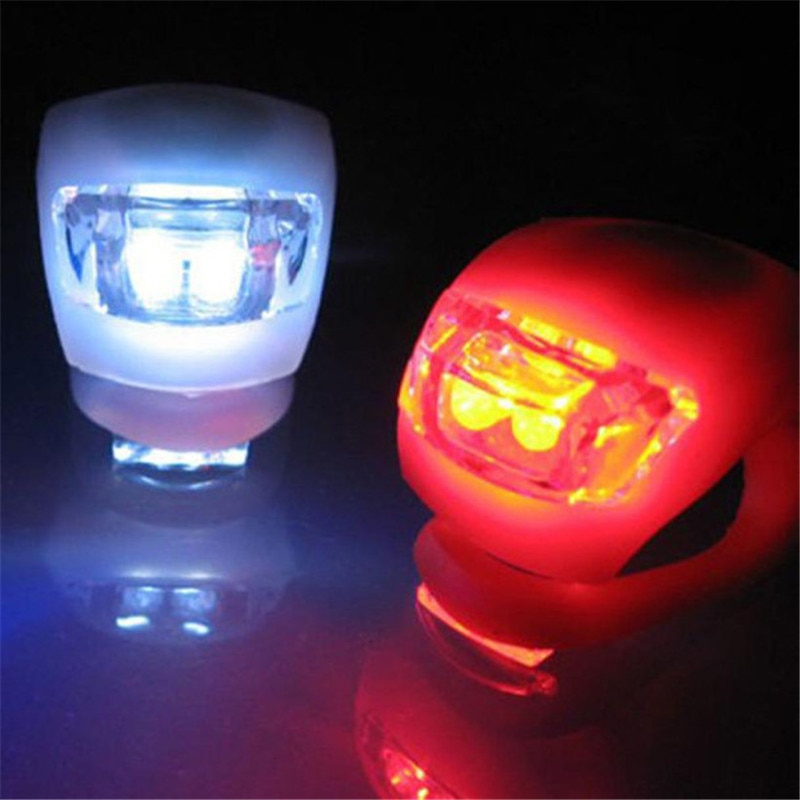 2 x LED bicicleta ciclismo silicona cabeza delantera rueda trasera luz de seguridad lámpara