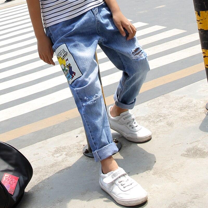 Джинсы для мальчиков, повседневные тонкие джинсы с длинным рукавом для мальчиков, 2019