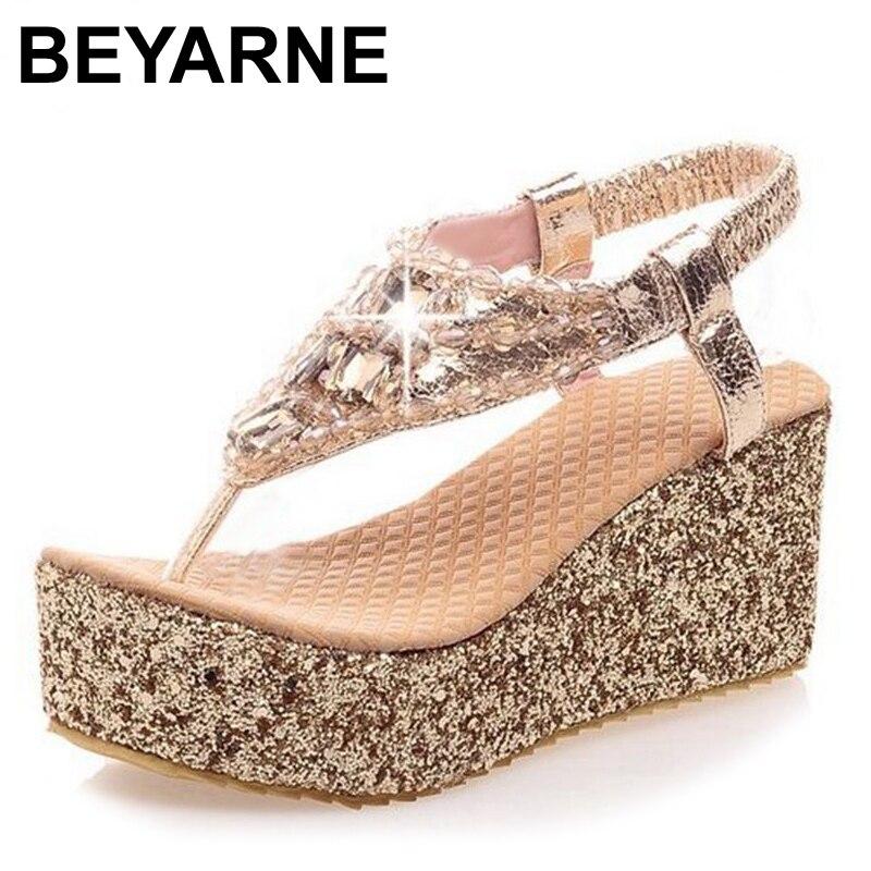 BEYARNE, gran oferta, sandalias de verano de tacón alto grueso, sandalias de mujer sexis a la moda con plataforma, zapatos de cuña con hebilla para mujer