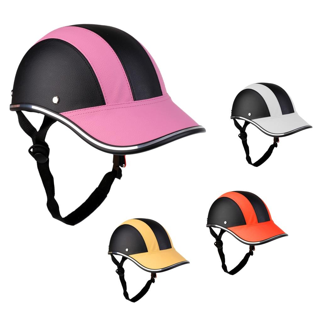 PU Street Bike Motorcycle Safety Helmet Motocross Cycling Riding Half Helmet Baseball Cap Foam Padded Hat