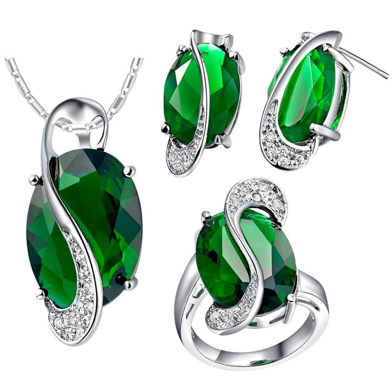 Серьги, кольцо, кулон, ожерелье, цирконий, классика, BAMOER, подлинный, Стерлинговое Серебро 925 пробы, лунный свет, синий и небесно-голубой криста...