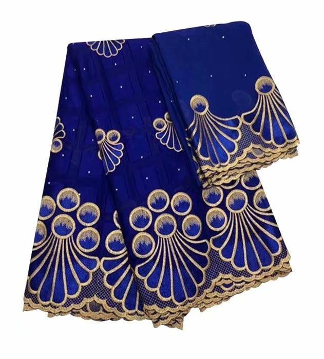 Conjunto de vestido de fiesta de clase alta 5y tela de encaje de algodón africano con 2y bufanda de gasa Suiza tela de encaje IKCV5 (5 + 2y)