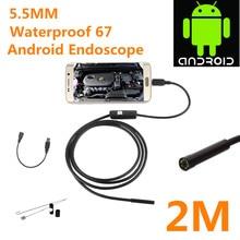 1 m 2 m 5.5mm USB Endoscope caméra IP67 480 P HD Android Endoscope Inspection USB Endoscope caméra LED Tube vidéo caméra OTG