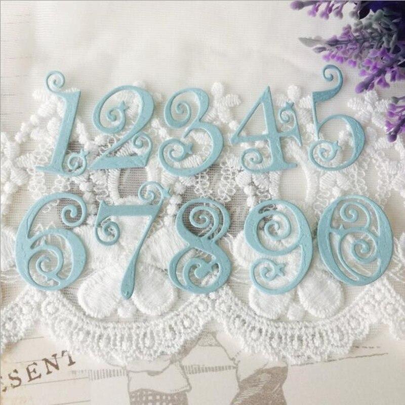 10 Uds encaje circular números Metal troquelado DIY arte de colección de recortes álbum decorativo troquelado plantilla para hacer tarjetas marco