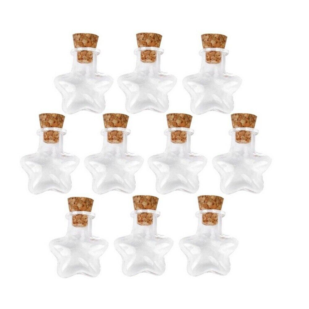 10 шт в форме звезды Мини Wish Note Ремесло стеклянные бутылки баночки с пробкой Рождественские Свадебные украшения Подарочная коробка (прозрач...