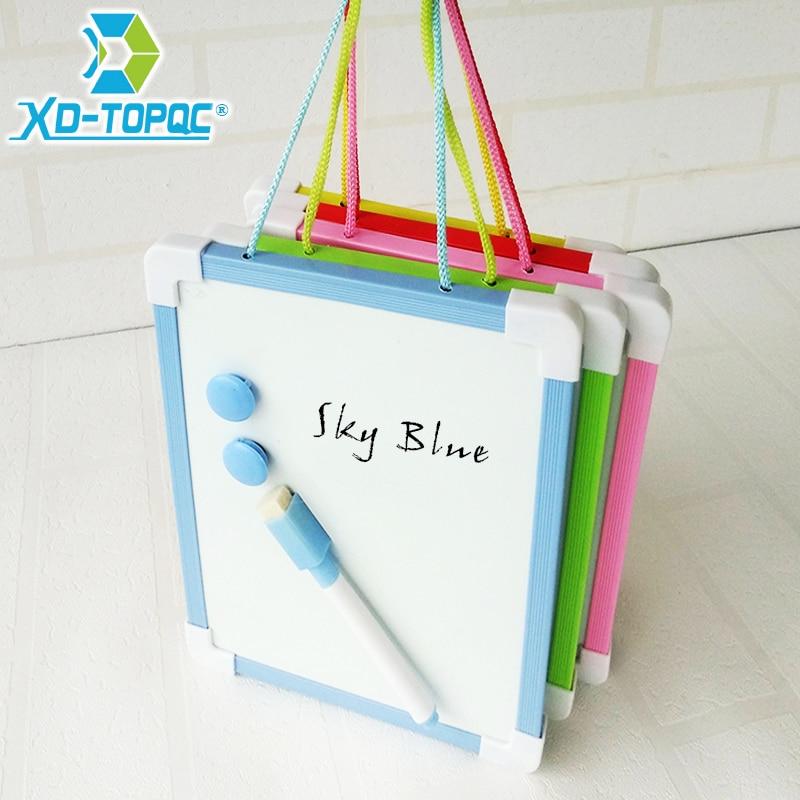Pizarra blanca magnética de 20,5x15,6 cm para niños, tablero de limpieza en seco, marco de 5 colores, Mini pizarra blanca de dibujo, tablero colgante pequeño con bolígrafo