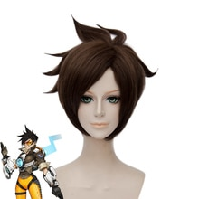 High Quality Game OW Tracer Wigs Brown Heat Resistant Synthetic Hair Cosplay Wig + Wig Cap