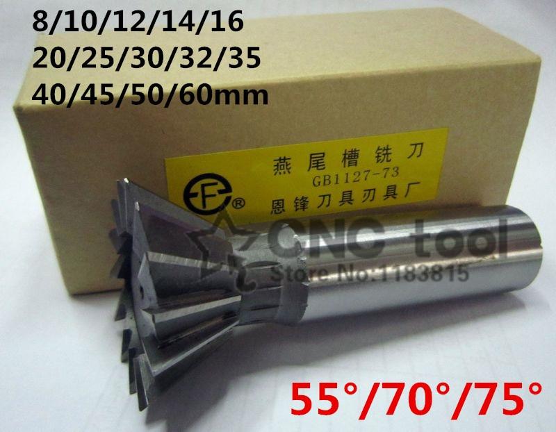 1 Uds 10mm/12mm/14mm/16mm/18mm/20mm/25mm/30mm/32mm/35mm/40mm/45mm 50/70/75 grado Premium HSS cortador de cola de milano fresa final