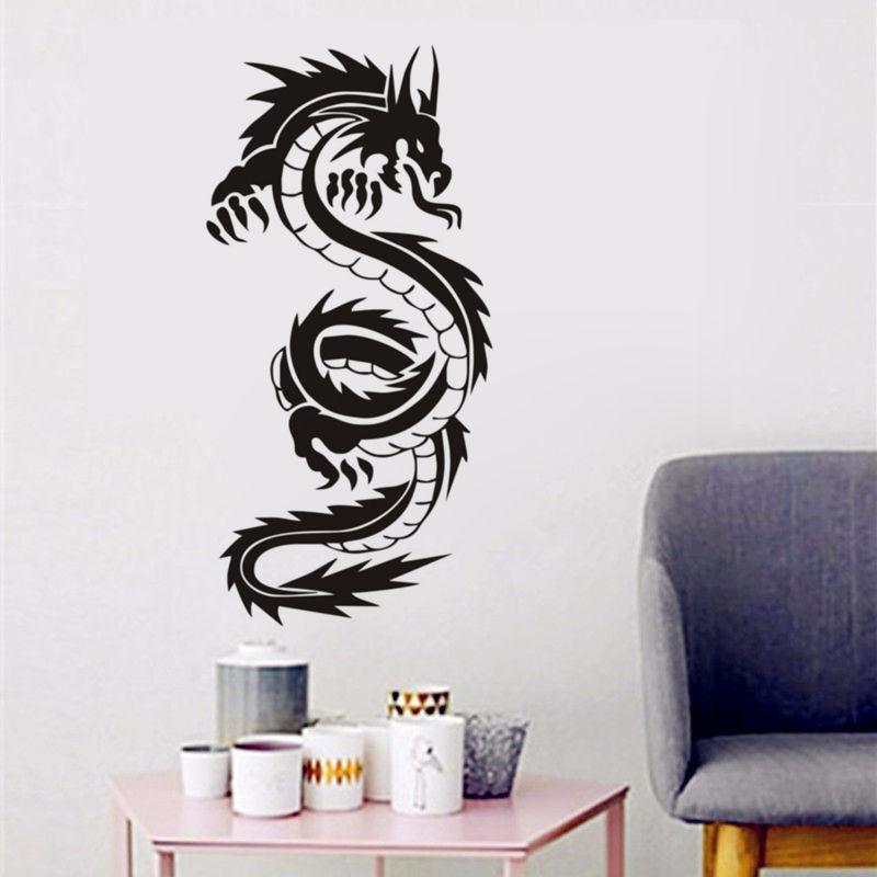 Silhueta de Dragão Chinês do vintage Adesivos de Parede de Venda Quente Para Adolescentes Meninos Quarto Da Parede do Vinil Da Arte Decalques Adesivos Muraux SA133B