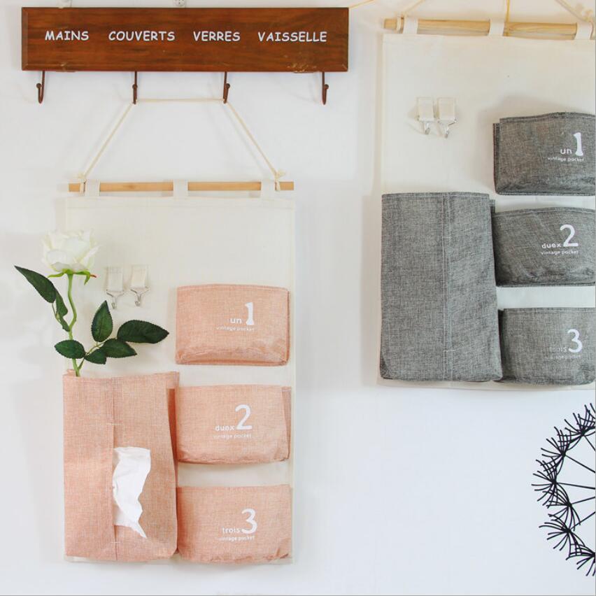 4 bolsillo minimalista pañuelos colgantes bombeo firma algodón toalla juegos de bombeo bandeja Guadai caja organizador bolsa de almacenamiento