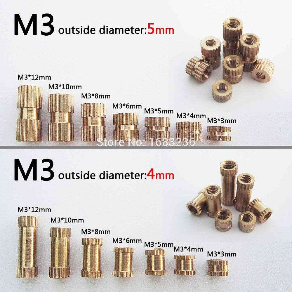 50 Uds M3 latón cobre rosca métrica tuerca de inserción moleteado Nutsert redondo diámetro exterior externo OD 4/5mm longitud = 3-12mm