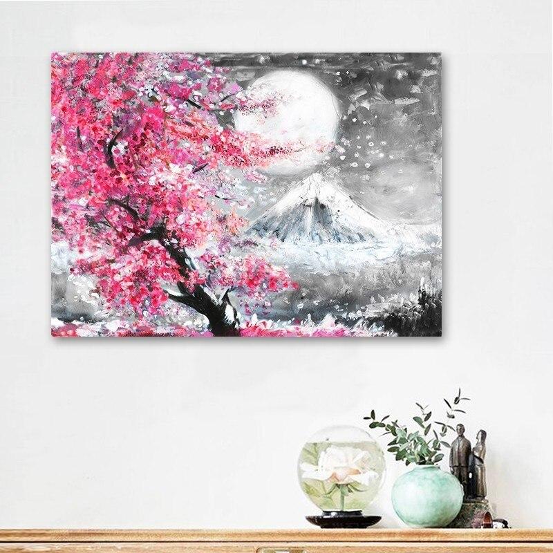 Cuadro en lienzo de paisaje de cerezo en flor de Mount Fuji, pintura en lienzo de Japón, Póster Artístico, impresiones al óleo, imágenes para decoración del hogar y la sala de estar o la cocina