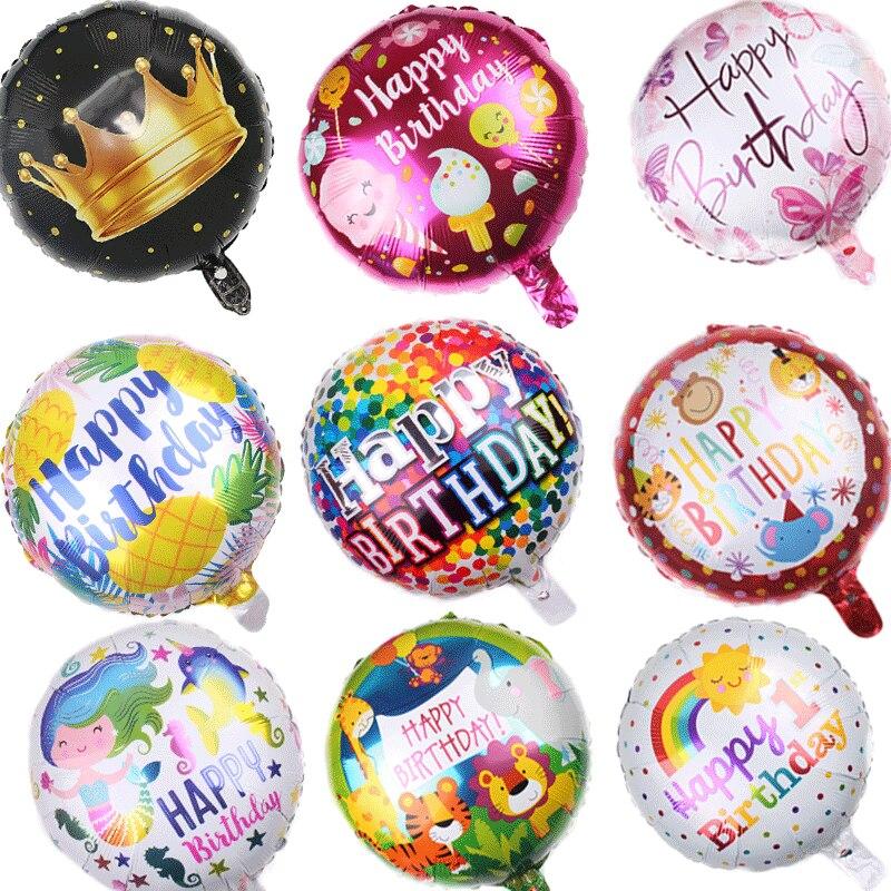 18 pulgadas Globos de papel de aluminio para cumpleaños bebé ducha juguetes inflables Globos de helio redonda Bola de aire fiesta de niños Favor sobresalen por
