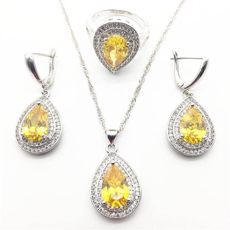 Amazing Water Drop  Zircon Austria Crystal Earrings Ring Pendant Necklace For Women 3PCS Jewelry Sets