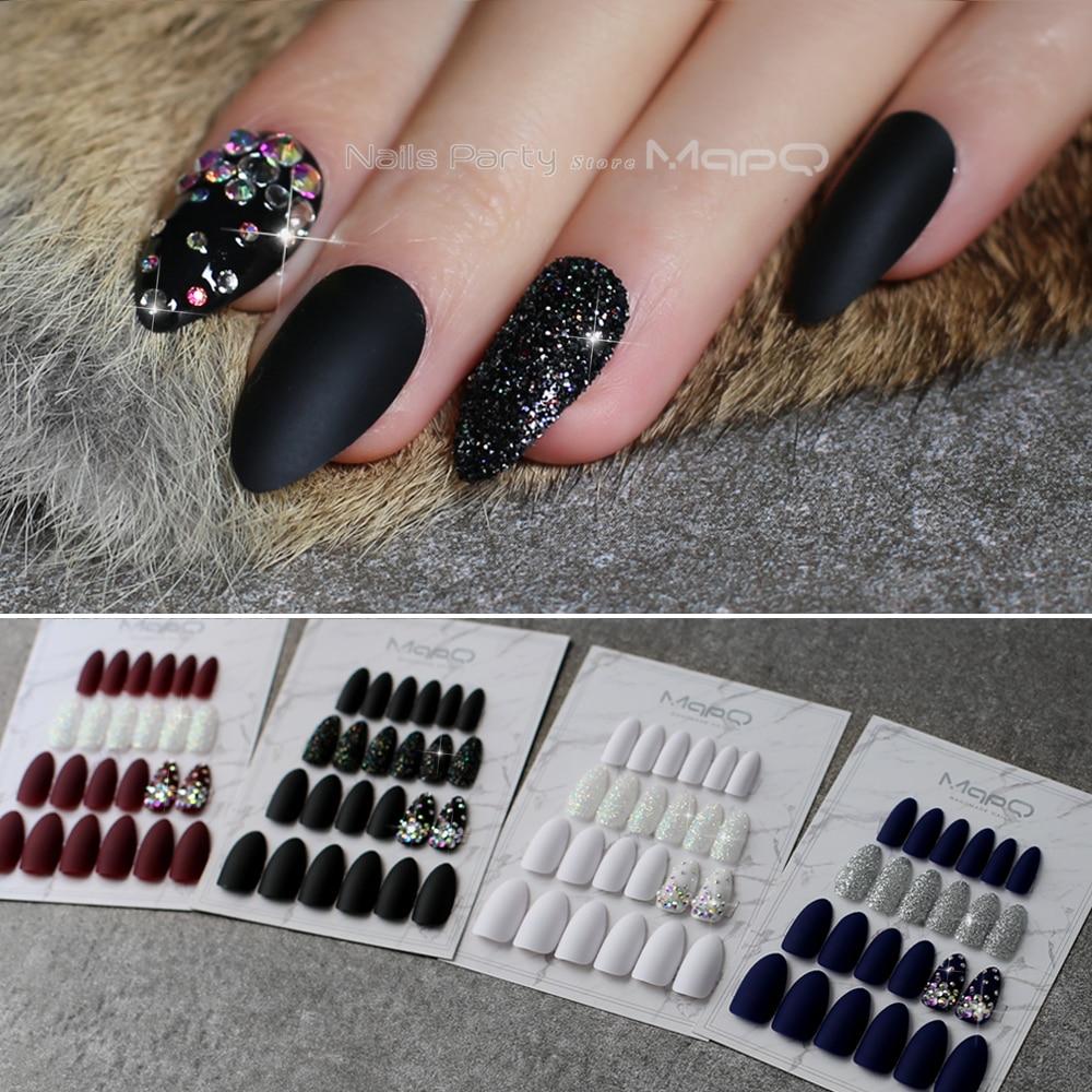 Stiletto Matte Black glitter false nails crystal full sets Salon design blue fake nails red Customizable logo almond nails white