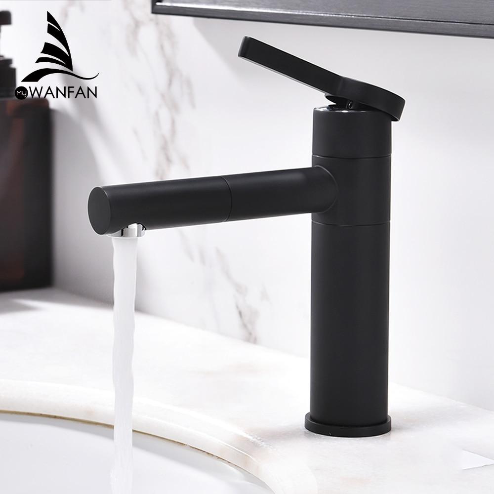Basin Faucets Brass Bathroom Faucet Vessel Sinks Mixer Vanity Tap Swivel Spout Deck Mounted White Color Washbasin Faucet LT-701A