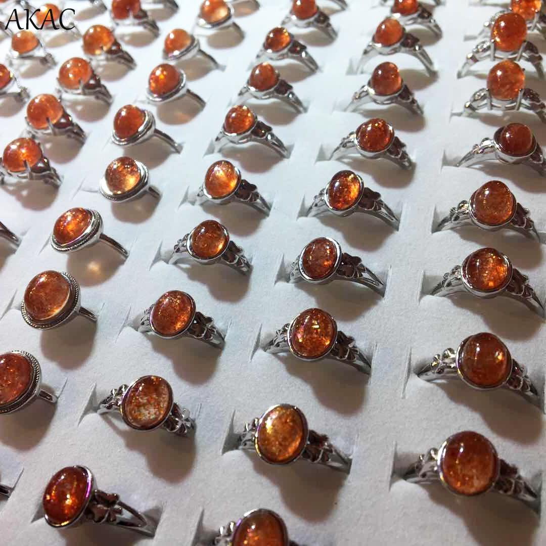 AKAC natural golden sunstone ajustable 925 Plata mujeres anillo 1 unids/set aprox6 * 8mm