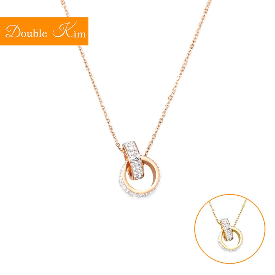 Duplo laço completo zircon pingente colar titânio aço inoxidável corrente colar incrustado completo zircão moda na moda feminina jóias