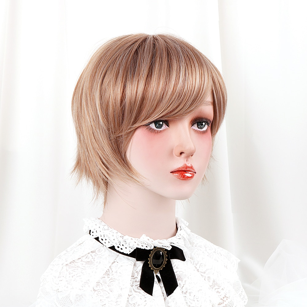 """Free Beauty 10"""" Short Straight Synthetic Ashy Brown Strawberry Blonde Ginger Hair Bob Wigs with Side Bangs for Women Daily"""
