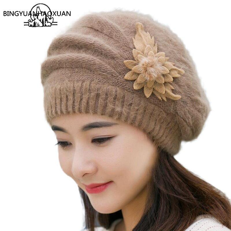 BINGYUANHAOXUAN, 2017, берет, высококачественный теплый зимний  головной убор для женщин, береты на кроличьем меху, модные дамские головные уборы с цветком, женский берет