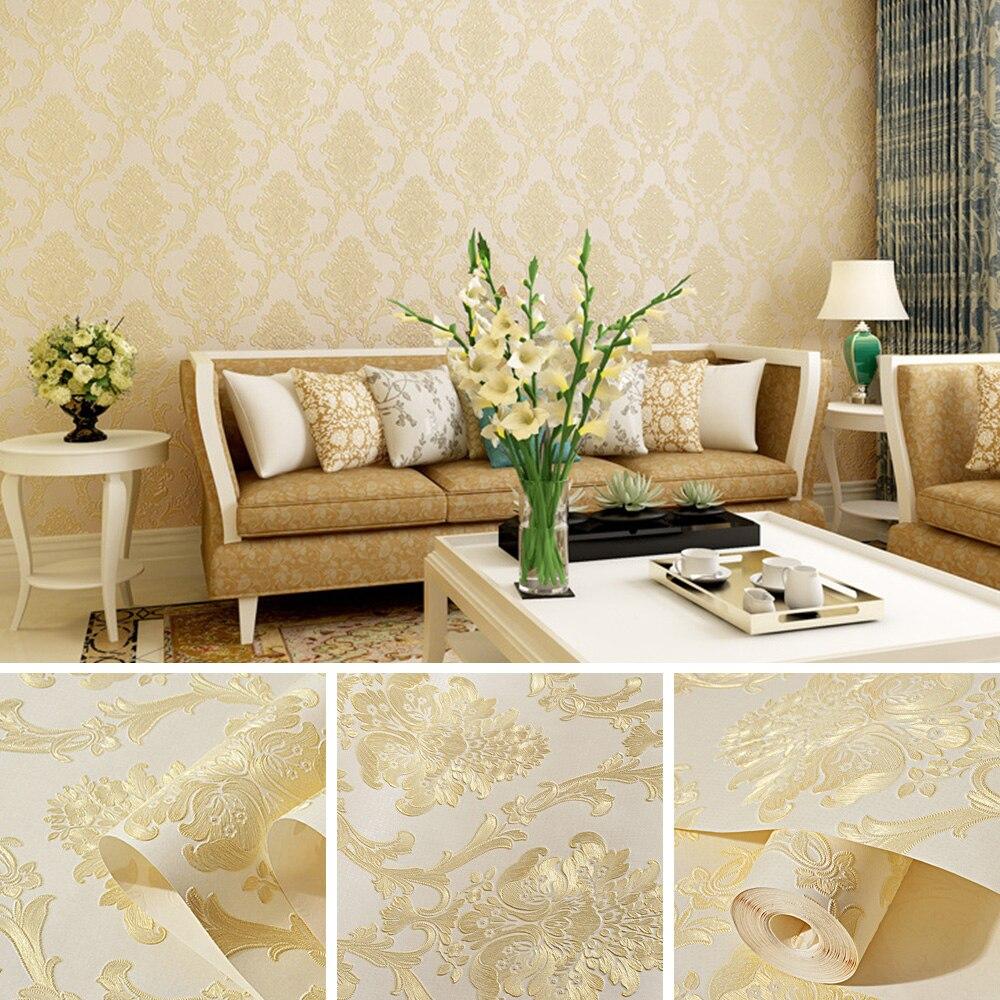Papel pintado de textil no tejido de lujo Damasco 3D estereoscópico relieve Damasco dormitorio Pared de salón papel decorativo para el hogar estilo europeo
