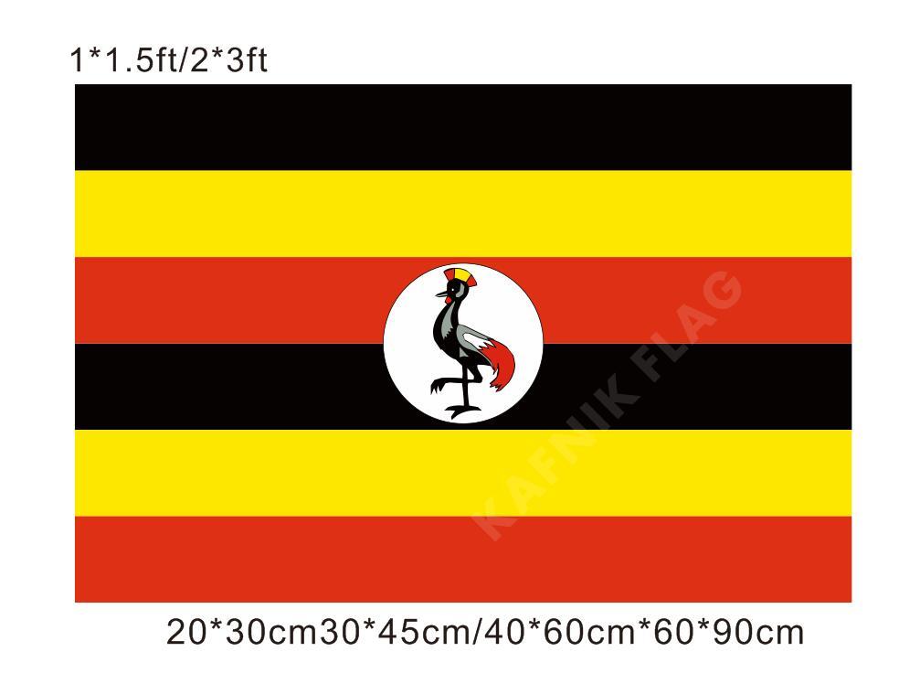 KAFNIK envío gratuito 20*30cm/30*45cm/40*60cm/60*90cm banderas pequeñas Uganda bandera para los países evento mundial banderas decorativas