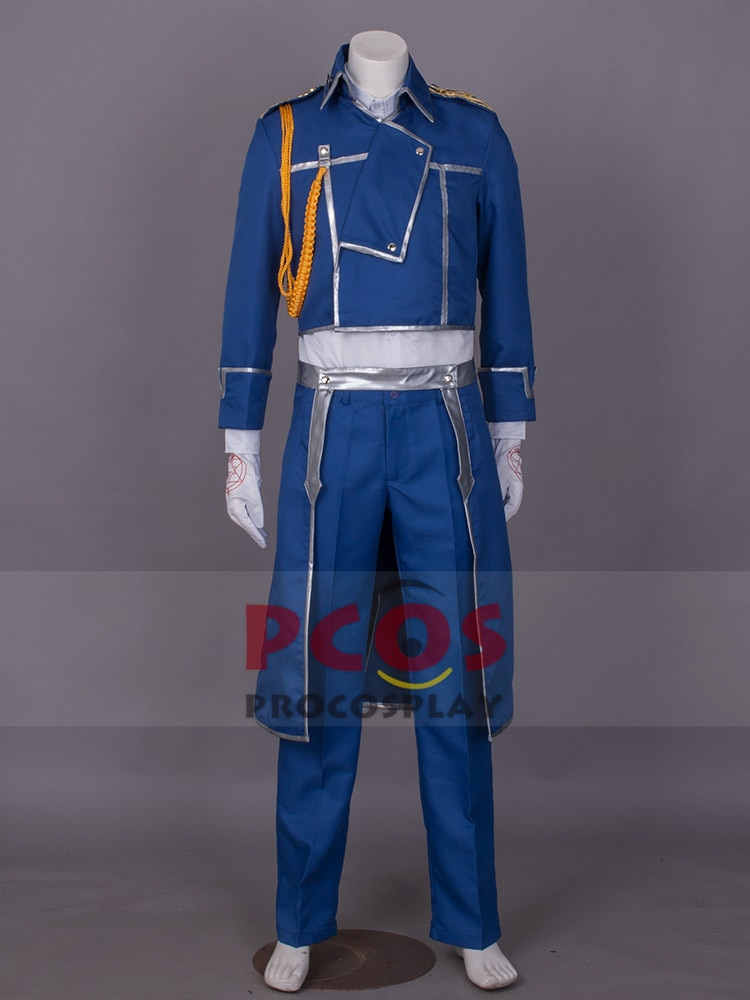 Disfraz de Cosplay de Fullmetal Alchemist, disfraz de coronel Roy Mustang, trajes militares mp000090
