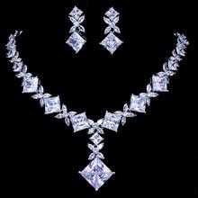 Emmaya marque cubique Zircon Bijoux de mariée ensembles argent couleur collier boucles doreilles ensemble de mariage Bijoux Parure Bijoux Femme fête