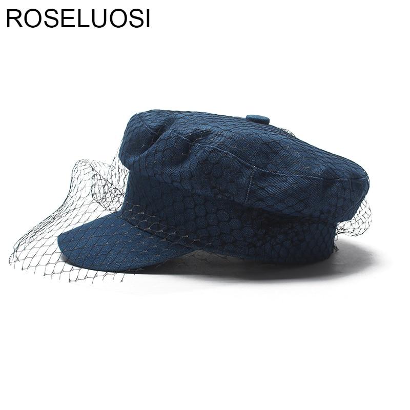 Roseluosi النساء القبعات أزياء جينز الدنيم العسكري قبعة مع شبكة زرقاء الدنيم قبعات casquette militaire لل