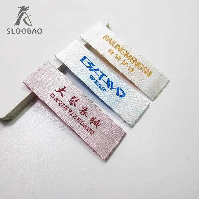 Envío Gratis 1000 Uds. Etiquetas tejidas personalizadas etiquetas hechas a mano etiquetas de tela personalizadas etiquetas de ropa personalizadas para impresión de ropa