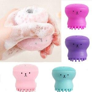 Силиконовая Очищающая щетка для лица, маленькая щетка в форме осьминога для мытья лица, отшелушивающее средство для очистки пор, губка, инструменты для ухода за кожей, 4 цвета