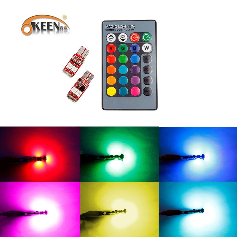 OKEEN 2pcs Canbus RGB T10 6smd 5050 Led Car Light W5w 194 Error Bulbs Wedge Lamp Clearance Light /led headlight remote control