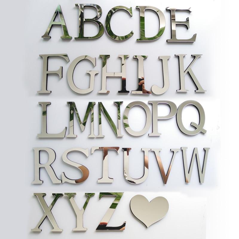 new acrylic EVA wedding sticker love letters Home decoration English 3D mirror wall Stickers Alphabet  LOGO