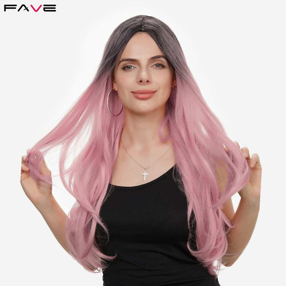 Pelucas de onda Natural de fibra resistente al calor favoritas para mujeres negras peluca sintética de alta densidad de oro rosa claro rosa