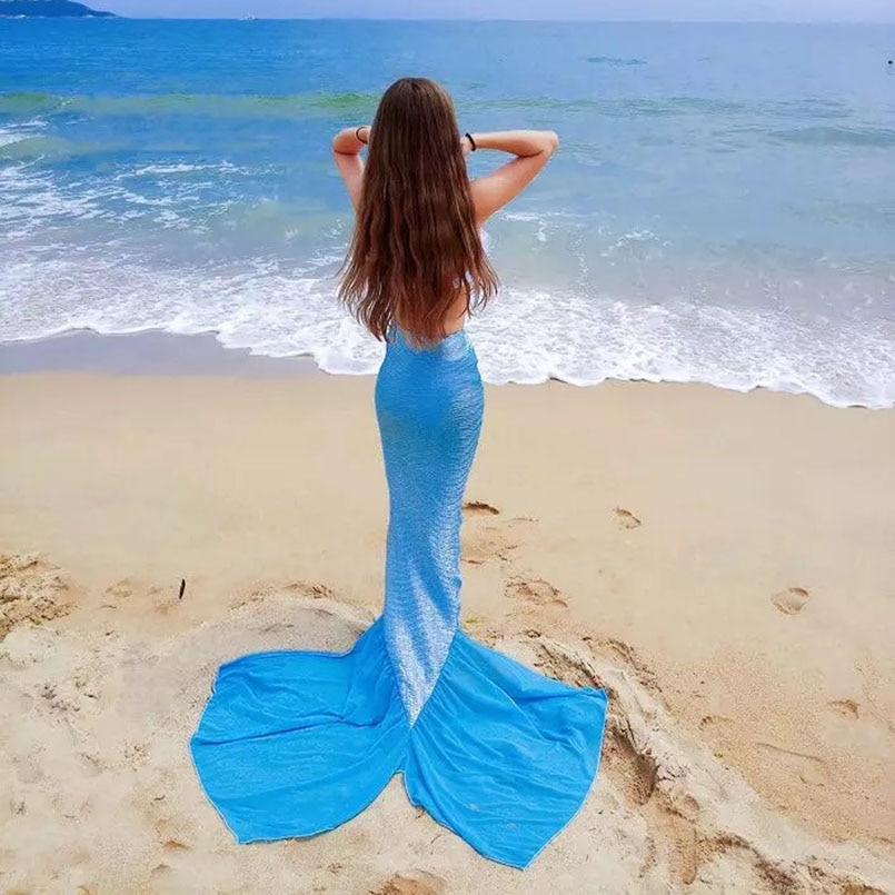 Faldas de cola de sirena para mujer, disfraz de sirena para natación y adultos, traje de baño de verano para vacaciones, ropa de playa para chicas