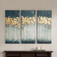 handmade wall artwork madison park midnight forest gel coat canvas with gold foil embellishment 3 piece set knife oil paintings