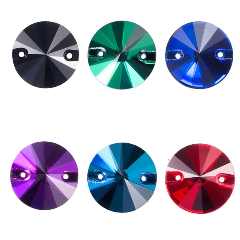 Разноцветные стразы Rivoli для рукоделия, круглая форма, Хрустальное стекло, Стразы для одежды, украшение свадебного платья