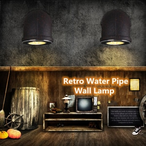 Industrial Wind Loft Retro Single Head Water Pipe Iron Art Wall Light Lamp For Restaurant Stairs Aisle Corridor LED Wall Lamp