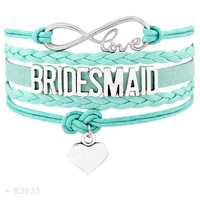Infinity Love Maid of Honor Bride to Be Bridesmaid Flower Girl Heart Charm Wrap Multilayer Leather Bracelets for Women