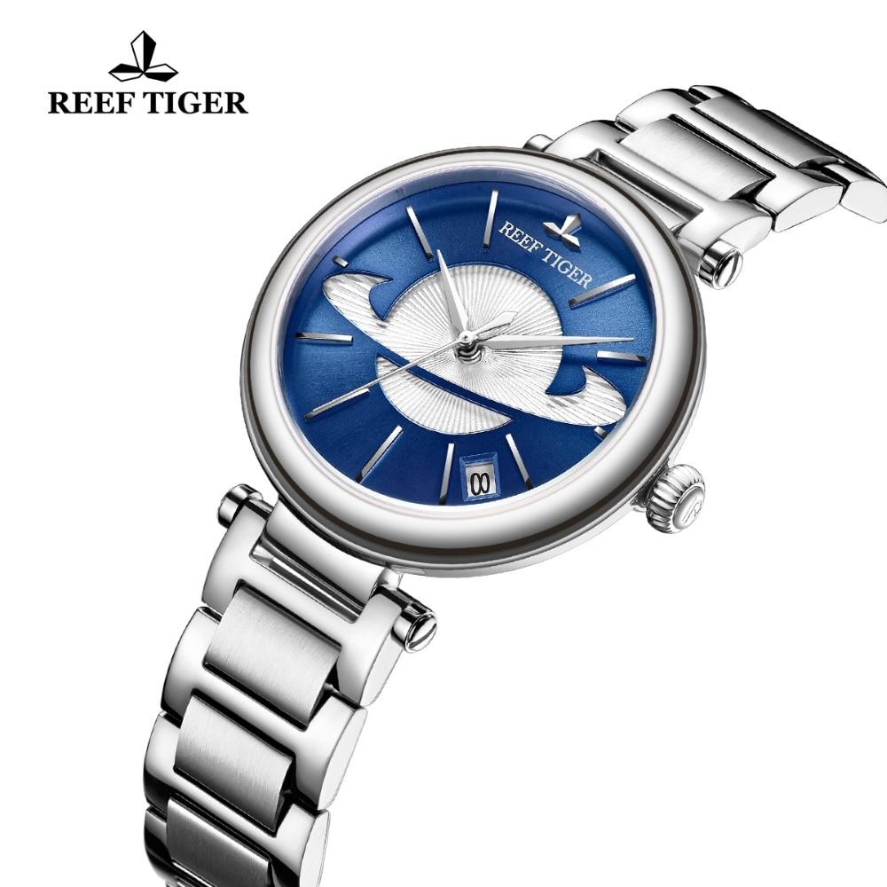 Reef Tiger/RT Luxury Rose Gold Blue Watch for Ladies Luxury Creative Watch Waterproof Women Watch Relogio Feminino RGA1591 enlarge