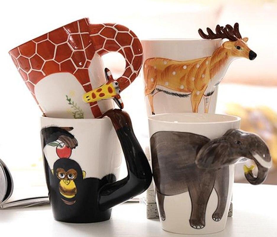 Taza 3D de cerámica creativa de nuevo diseño, tazas de té puer de leche de café, tazas de té 3D con forma de animal, animales pintados a mano, jirafa, vaca, taza con dibujo de mono, regalo